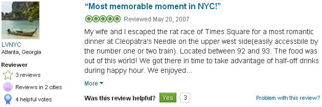 Cleopatra's Needle Review Urbanspoon